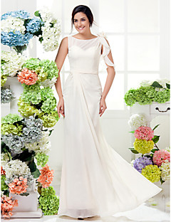 Floor-length Chiffon Bridesmaid Dress Sheath / Column Bateau Plus Size / Petite with Flower(s) / Sash / Ribbon