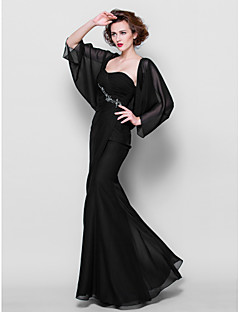 Lanting Trumpet/Mermaid Plus Sizes / Petite Mother of the Bride Dress - Black Floor-length 3/4 Length Sleeve Chiffon