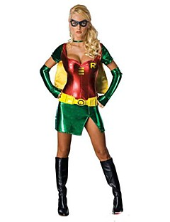 súper robin verde chica& Halloween costumefor carnaval de las mujeres de poliéster de color rojo