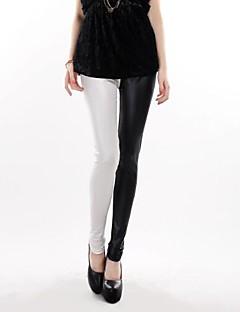 vrouwen hoge taille leder ab hit kleurenmozaïek leggings