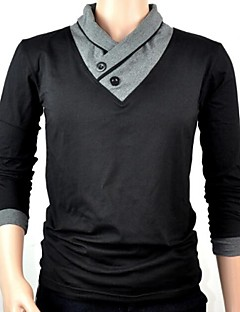 Men's Solid Casual / Work T-Shirt,Cotton Long Sleeve-Black / Gray
