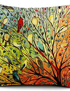 oiseaux multicolores et arbre coton / lin taie d'oreiller décoratif