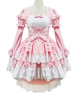 Lovely Maid Style Long Sleeve Pink Cotton Princess Lolita Dress