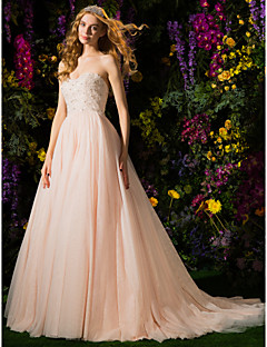 Lan Ting Ball Gown Wedding Dress - Pearl Pink Court Train Strapless Tulle