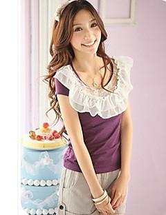 Sweety lotusblad kanten kraag met korte mouwen t-shirt paars