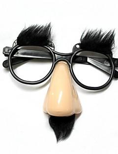 lustige ältere Brille Nase / Stirn - beige + schwarz