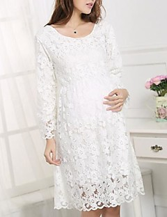 Women's Round Collar Lace Maternity Dress