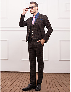 Suits Slim Fit Slim Notch Single Breasted One-button 3 Pieces Light Blue / Dark Gray Straight Flapped