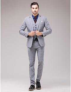 Suits Strak Smalle inkeping Single Breasted een knoops 3-delig Grijs Recht met flappen