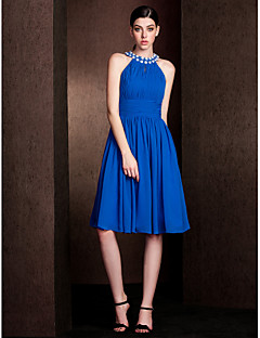 LAN TING BRIDE Knee-length Jewel Bridesmaid Dress - Short Sleeveless Chiffon Stretch Satin