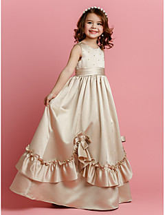 A-line Floor-length Flower Girl Dress - Satin Sleeveless Jewel with Beading / Bow(s) / Sash / Ribbon