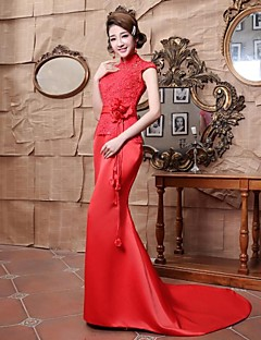Formal Evening Dress - Ruby Plus Sizes Trumpet/Mermaid High Neck Floor-length Satin