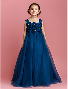 Ball Gown Floor-length Flower Girl Dress - Satin / Tulle Sleeveless Straps with Bow(s) / Crystal Detailing / Flower(s)