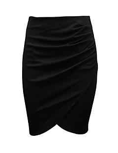 Polyester / Katoenmixen-Micro-elastisch-Casual-Boven de knie-Vrouwen-Rokken