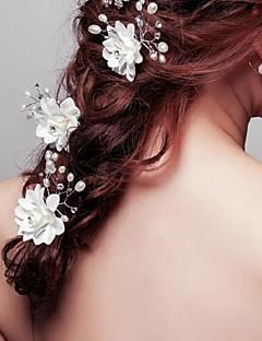 נשים נערת פרחים קריסטל סגסוגת דמוי פנינה בד כיסוי ראש-חתונה אירוע מיוחד סיכת שיער 3 חלקים