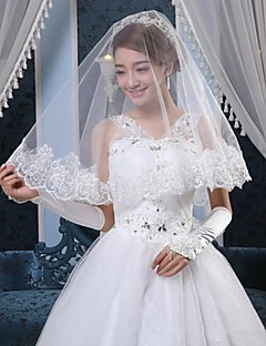 one-tier tule vingertop bruiloft sluiers met gesneden rand (meer kleuren)