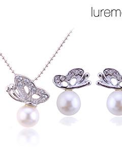 lureme vrouwen kristallen vlinder parel ketting oorbellen set