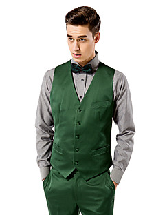 Green Solid Tailored Fit Vest In Polyester