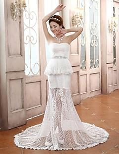 Vestido de Boda - Blanco Corte Sirena Tribunal - Sweetheart Encaje