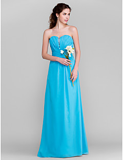 Lanting Bride® Floor-length Chiffon Bridesmaid Dress - Sheath / Column Sweetheart Plus Size / Petite with Beading / Draping / Ruching