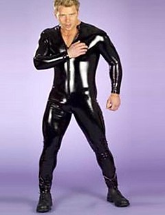 Männer `s Boxer Ganzkörper-Strumpfhose schwarz PU-Leder sexy Uniformen