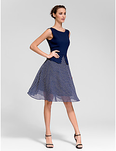 Homecoming Cocktail Party Dress - Dark Navy A-line Bateau Knee-length Polyester