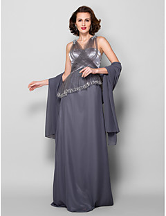 Sheath / Column Plus Size / Petite Mother of the Bride Dress - Wrap Included Floor-length Sleeveless Tulle / Georgette withAppliques /