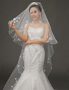 컷 가장자리 한 계층 얇은 명주 그물 성당 결혼식 베일