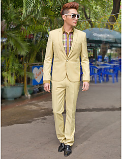 Khaki Solid Slim Fit Tuxedo In Polyester