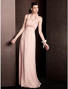 Floor-length Silk Bridesmaid Dress Sheath / Column Halter with Draping / Ruffles