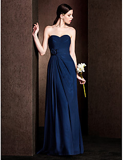 Lanting Bride® Floor-length Chiffon / Stretch Satin Bridesmaid Dress - Sheath / Column Sweetheart Plus Size / Petite withFlower(s) /