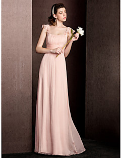 Floor-length Silk Bridesmaid Dress Sheath / Column Square with Draping / Ruching
