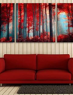 E-Home® Leinwand Kunst rotem Holz dekorative Malerei Set von 3
