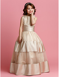 Ball Gown Floor-length Flower Girl Dress - Organza / Satin Sleeveless Jewel with Beading / Flower(s) / Sash / Ribbon / Ruching