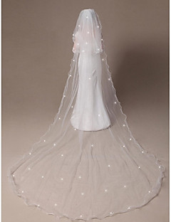 Two-tier Cathedral Veil Curly Rattail Edge Scatter Crystals with Comb Made of Softest Net