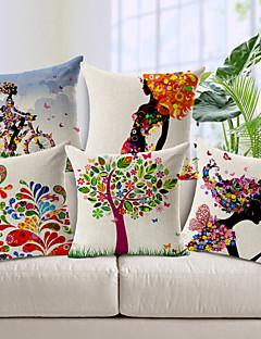 ensemble de 5 motif coloré coton / lin taie d'oreiller décoratif