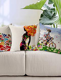conjunto de 3 padrão colorido algodão / linho fronha decorativo