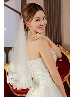 One Tire Elbow Bridal Veils with Lace Applique with Rhinestones ASV33