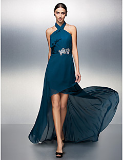 Formal Evening Dress - Ink Blue Plus Sizes / Petite Sheath/Column Halter Asymmetrical Chiffon