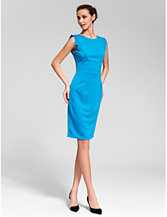 Cocktail Party Dress - Dark Navy Sheath/Column Jewel Knee-length Polyester