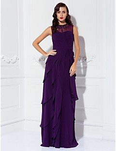 Lanting Sheath/Column Plus Sizes / Petite Mother of the Bride Dress - Grape Floor-length Sleeveless Georgette