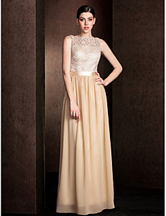 Lanting Bride Floor-length Lace / Georgette Bridesmaid Dress - Mini Me Sheath / Column Bateau Plus Size / Petite with Lace / Sash / Ribbon
