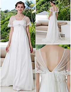 Lanting A-line Petite / Plus Sizes Wedding Dress - Ivory Sweep/Brush Train V-neck Tulle / Georgette