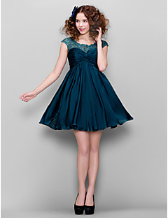 TS Couture® Cocktail Party Dress Plus Size / Petite A-line Jewel Short / Mini Satin Chiffon with Beading / Lace / Criss Cross / Ruching