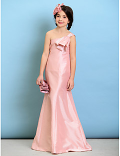 LAN TING BRIDE Floor Length Taffeta Junior Bridesmaid Dress A-line One Shoulder Natural with Bow(s) - Sky Blue Lime Green Ocean Blue Ink