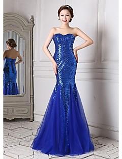 저녁 정장파티 드레스 - 로얄 블루 트럼펫/멀메이드 바닥 길이 스위트하트 명주그물/반짝이