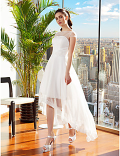 A-line Wedding Dress - Ivory Asymmetrical Bateau Chiffon