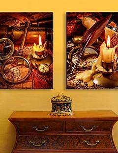 e-Home® allungata guidata arte canvas stampa l'effetto del flash candela infiammante set di stampa in fibra ottica di 2