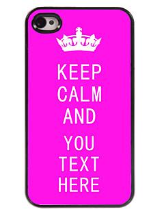 caixa personalizada rosa mantem a calma caso design de metal para iPhone 4 / 4S