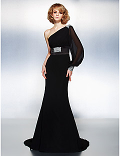 TS Couture® Formal Evening Dress - Black Plus Sizes / Petite Trumpet/Mermaid One Shoulder Court Train Georgette